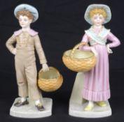 A pair of Royal Worcester porcelain figures, c1883, modelled after Hadley