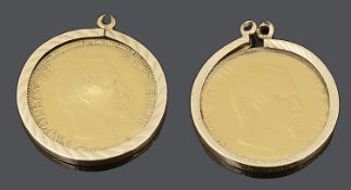 Two Napoleon III gold 10 francs 1856 & 1858 coins, mounted in 9ct gold earring mounts
