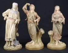 A pair of Royal Worcester porcelain Chinguin Indian figures, c1892, after Hadley; others