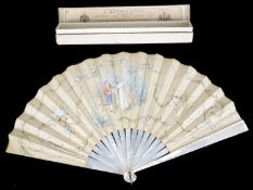 A late 19th c. Fr. mother of pearl and silk fan
