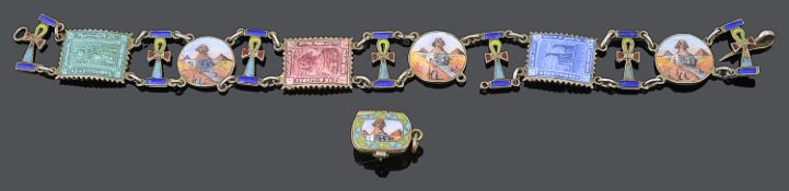 An attractive and unusual Art Deco Egyptian Revival enamelled bracelet