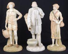 A pair of Royal Worcester blush ivory porcelain figures, c1896, modelled after Hadley; 1 other