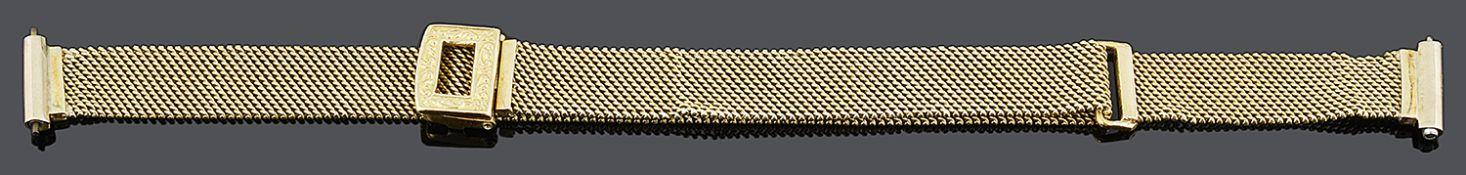 An Art Deco ladies 18ct gold adjustable mesh watch bracelet strap