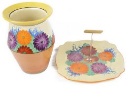 A Clarice Cliff Bizarre 'Gayday' vase and cake plate, c1930's