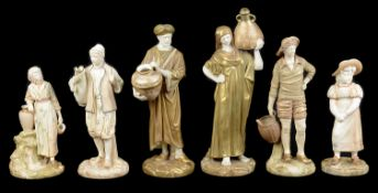 A pair of Royal Worcester porcelain figures of Cairo Water Carriers, c1912 and 1916; 4 others
