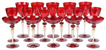 An early 20th c. part service of Murano drinking glass c.1920