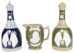 Two Copeland Spode whisky decanters commemorating the coronation of King George V and Queen Mary