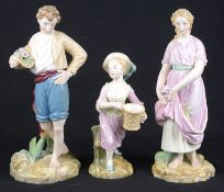 A pair of Royal Worcester porcelain figures, c1865, modelled as Paul and Virginia; 1 other