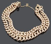 A 9ct rose gold double curb link bracelet