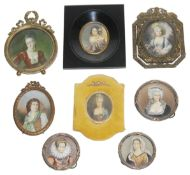 A collection of late 19th/early 20th c. continental portrait miniatures