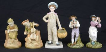 A pair of Royal Worcester porcelain figures, c1912, modelled as Strephon; 3 others