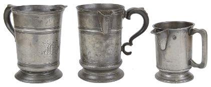 Three 19th c. pewter pub measures
