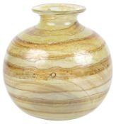An early Isle of Wight Glass tortoiseshell banded vase