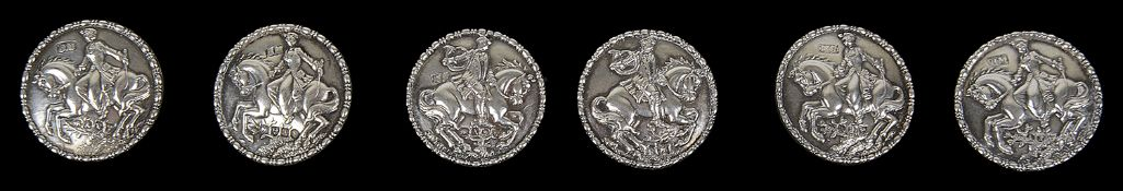 A suite of six 19th c. silver buttons, import marks for Chester 1901 by Berthold Muller
