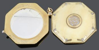 A charming late 19th c. Fr. 18ct gold ivory and rose diamond set double mirror pendant