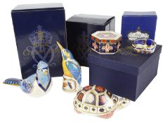A Royal Worcester kingfisher snuffer, Royal Crown Derby Imari bug; trinket box; paperweights