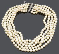 An attractive Edwardian stye, Continental five row cultured pearl choker necklace