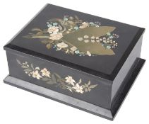 A late 19th c. continental pietra dura playing card box