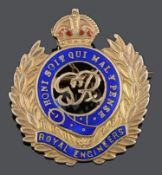 A 9ct gold enamelled Royal Engineers sweetheart brooch
