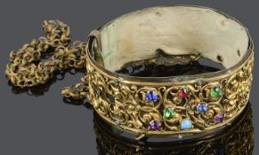 An unusual early 19th c. gilt brass and paste set dog collar