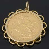 A George V gold full sovereign 1912, with pendant mount