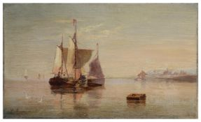 Henry Moore (Brit., 1831-1895) Sailing barges on a calm sea, oil on canvas, signed H. Moore