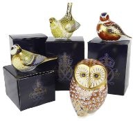 Four boxed Royal Crown Derby Imari birds paperweights