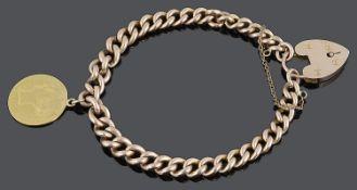 A 9ct rose gold flat curb link bracelet