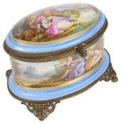 A mid 19th c. Fr. Palais Royal Sevres style porcelain gilt mounted scent bottle casket c.1850