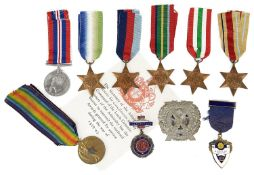 A group of World War I and II medals