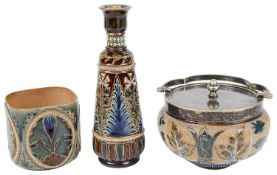 Three Doulton Lambeth stonewares, a vase, a beaker and a condiment jar with cover