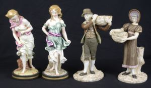 A pair of Royal Worcester porcelain figures, c1883 and 1884, modelled after Hadley; 2 others
