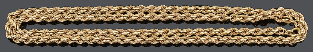 A contemporary Continental 18ct gold rope twist chain