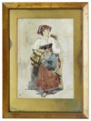 Onorato Carlandi (Italian, 1848 - 1939) 'Italian Lady' in native costume, watercolour on paper