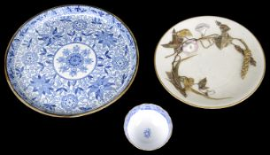 An early 19th c. blue and white Adams pearlware Tendril pattern cheese stand