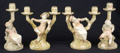 A pair of Royal Worcester porcelain blush ivory candelabrum figures, c1892 and 1893; 2 others
