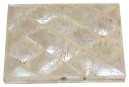 A Victorian mother pearl card case, of rectangular form