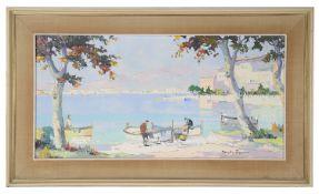 Cecil R. Doyly John (Brit. 1906-1993) 'Cannes Bay', oil on canvas; another scene by Doyly John