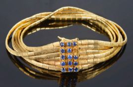 A Continental 18ct gold and sapphire set bracelet