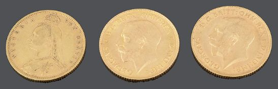 Three gold half sovereigns 1892, 1913 and 1914