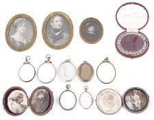 A Georgian paste set oval portrait miniature locket and others