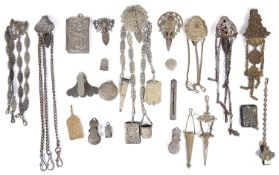19th century and later chatelaines, silver, steel, gilt brass and nickel plated examples