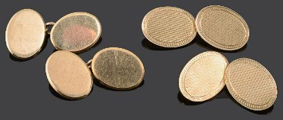 A pair of 18ct gold cufflinks and a pair of 9ct gold cufflinks