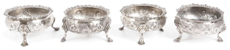 A matched set of four George III silver cauldron salts,
