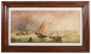 Alfred Herbert (c.1820-1861)'Fishing boats on a rough sea',watercolour