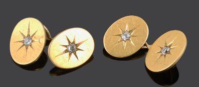 A pair of Victorian 18ct gold diamond set cufflinks
