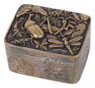A Japanese Meiji period shakudo small trinket box