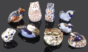 A collection of nine Royal Crown Derby Imari animal paper weights