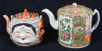 A Japanese Banko ware Noh mask teapot