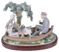 A large Lladro porcelain boating party figure group, 'El Arca'